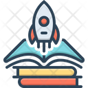 Knowledge Growth Book Rocket Icon