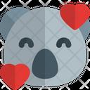 Koala Smiling With Hearts Animal Wildlife Icon