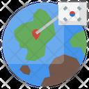 Korea Location Global Map Global Pin Icon