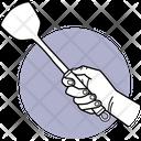 Ladle Holding Holding Ladle Kitchen Utensil Icon
