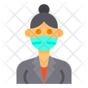 Lady With Facemask Icon
