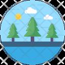 Lake Landscape Scenery Icon