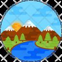 Lake Scenery Nature Countryside Icon
