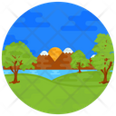 Riverside Lakeside Nature Icon