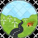 Windmills Landscape Landforms Icon