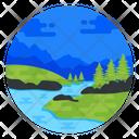 Valley Landscape Landforms Icon