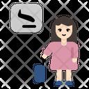 Landing Plane Woman Tourist Airport Icon