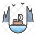 Landscape Mountains Sailboat Icon