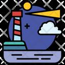 Landscape Lighthouse House Icon