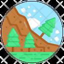 Landsliding Avalanche Rocks Falling Icon