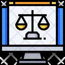 Laptop Online Justice Online Court Icon