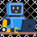 Virtual Robot Laptop Robot Robotic Technology Icon