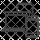 Laptop to mobile data transfer Icon