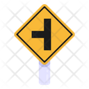 Left T Junction Road Post Traffic Board Icon
