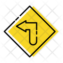 Left Turn Traffic Signs Icon