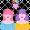 Lesbian Homosexual Couple Feelings Icon
