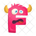 Letter F Monster Icon