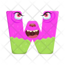 Letter W Monster Icon