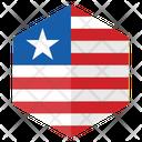 Liberia Flag Hexagon Icon