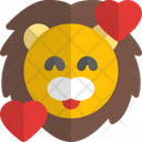 Lion Smiling With Hearts Animal Wildlife Icon