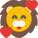Lion Smiling With Hearts Icon