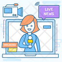 Live News Online Media Broadcast Media Icon