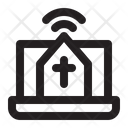 Live Streaming Laptop Church Icon