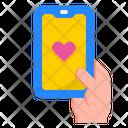 Love App Smartphone Hand Icon