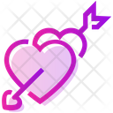 Valentine Day Arrow Heart Icon