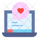 Laptop Love Chat Heart Icon