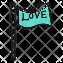 Love Flag Banner Emblem Icon