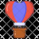 Love Flight Heart Air Balloon Parachute Icon