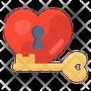 Love Key Romantic Key Heart Lock Icon