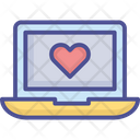 Loving Chat Laptop With Heart Love Message Icon