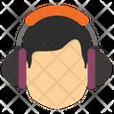 Male Head With Headphones Icon