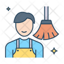 Male Sweeper Domestic Cleaning House Work Icon