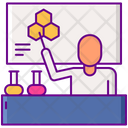 Male Teacher In Laboratory Icon