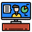 Man Monitor Chat Bubbles Icon
