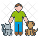 Man And Pets Icon
