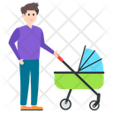 Man Carrying Baby Baby Stroller Baby Carriage Icon