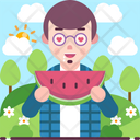 Man Eating Watermelon Icon