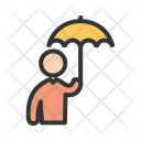 Man Holding umbrella Icon