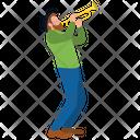 Man Playing Bugle Icon