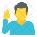 Man Raising Hand Icon
