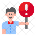 Man Stand With Warning Signboard Man Holding Warning Signboard Warning Icon