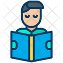 Student Male Student Reading Book Icon