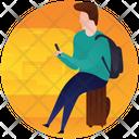 Tourist Using Phone Smartphone User Icon