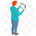 Man Using Tablet Using Tablet Telecommunication Icon