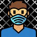 Man Wear Hygienic Mask Icon