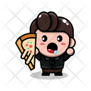 Man With Pizza Slice Icon